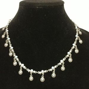 PD crown silver and blue necklace